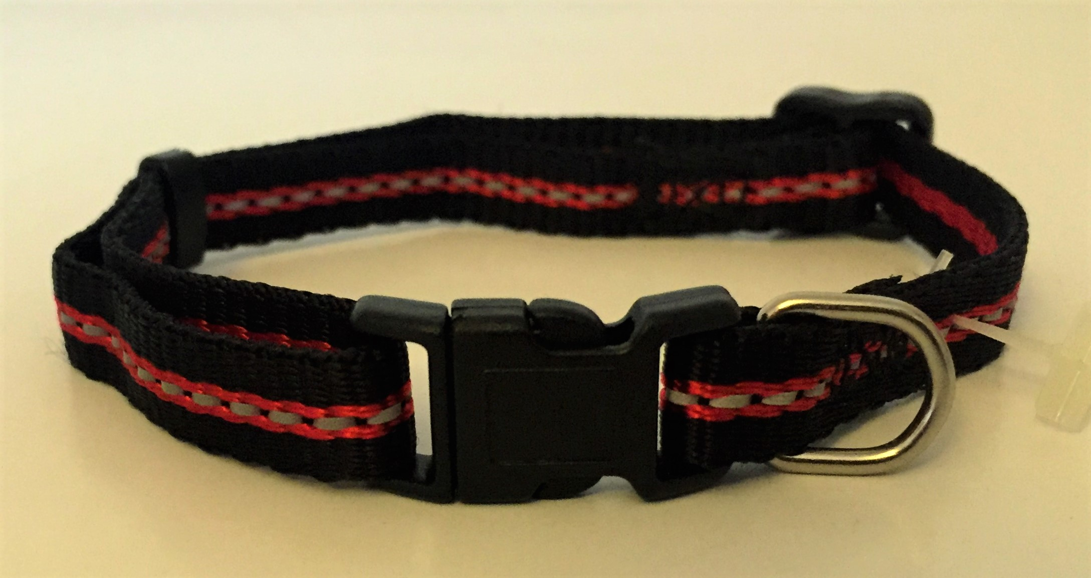 Reflective Adjustable Collar Black/Red Stripe - 10mm x 35cm